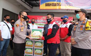 Kapolres Metro Jakarta Timur Silaturahim ke KSBSI, Berikan Bantuan Sembako